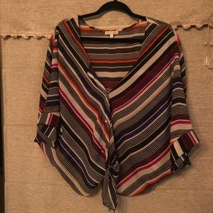 Front Tie Sheer Blouse
